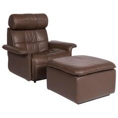 De Sede Leather Armchair Set Brown 1 Armchair 1 Stool