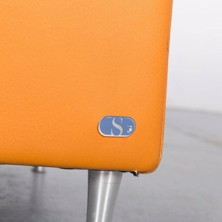 Swiss De Sede Leather Armchair Yellow Orange One-Seat
