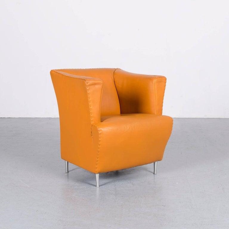 De Sede Leather Armchair Yellow Orange One-Seat In Fair Condition In Cologne, DE