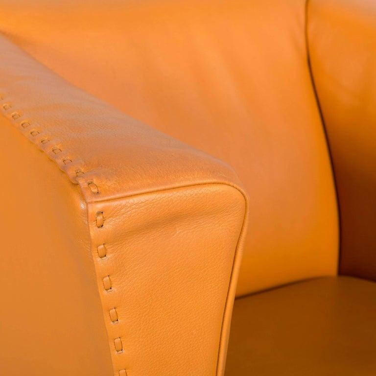 Contemporary De Sede Leather Armchair Yellow Orange One-Seat