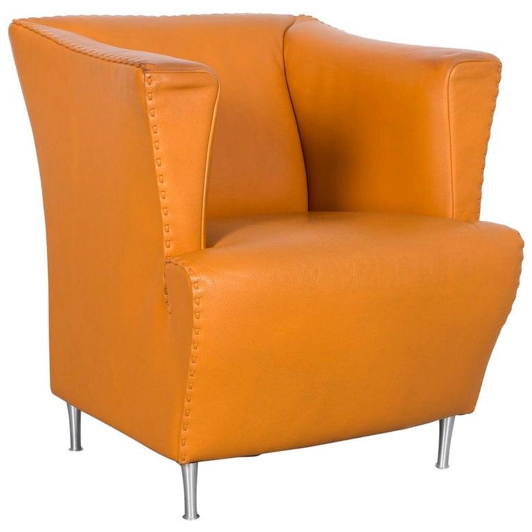 De Sede Leather Armchair Yellow Orange One-Seat