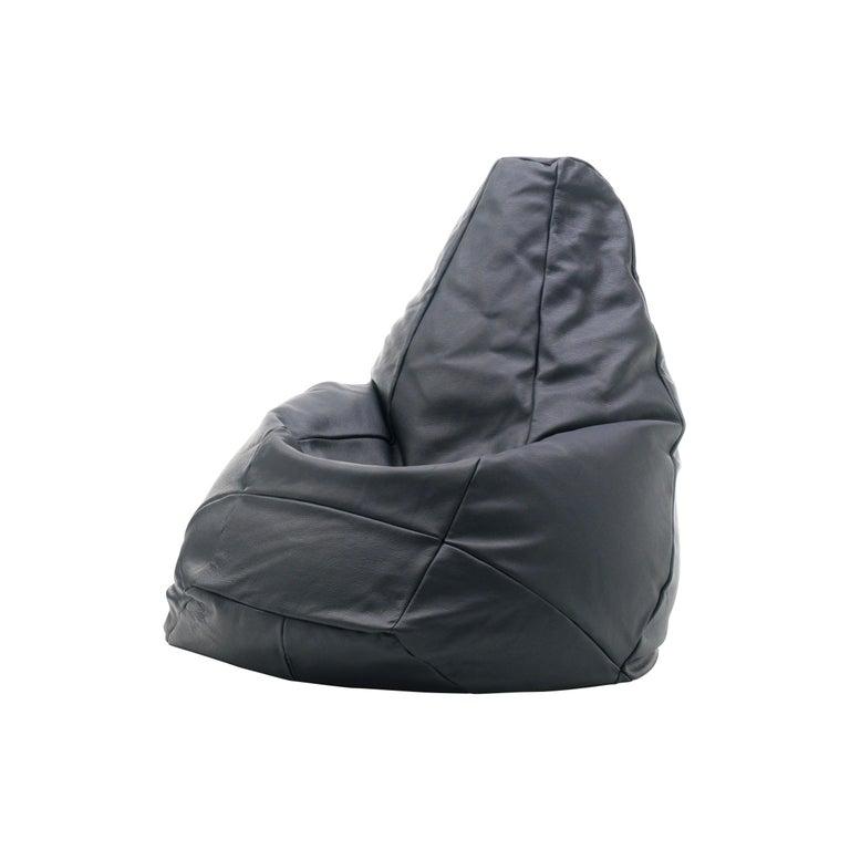 For Sale: Black De Sede Leather Beanbag Longue Chair