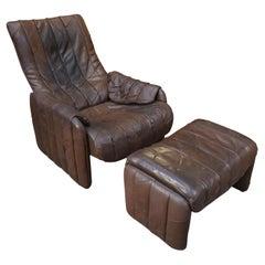 De Sede Leather Chair and Ottoman, Circa 1970
