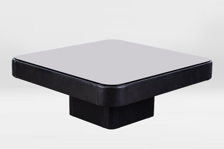 Swiss De Sede Leather Coffee Table For Sale