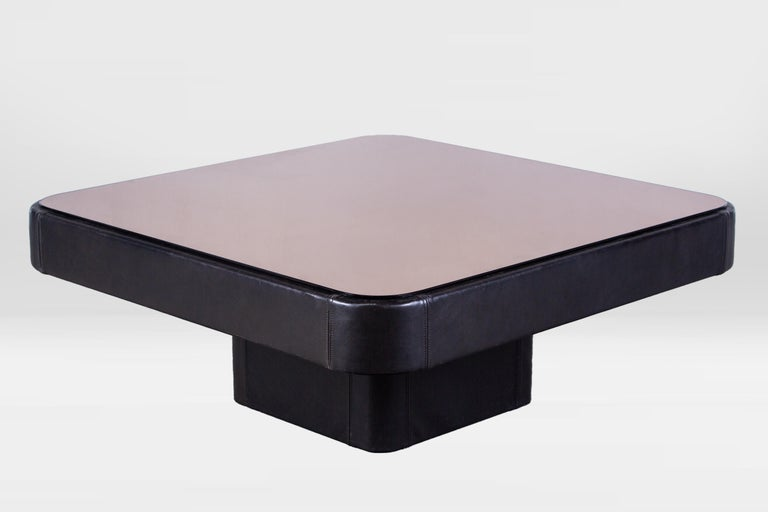 Glass De Sede Leather Coffee Table For Sale