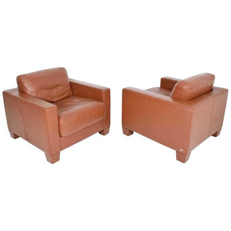 De Sede Leather Lounge Chairs For Sale