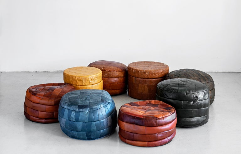 Swiss De Sede Leather Patchwork Ottomans For Sale