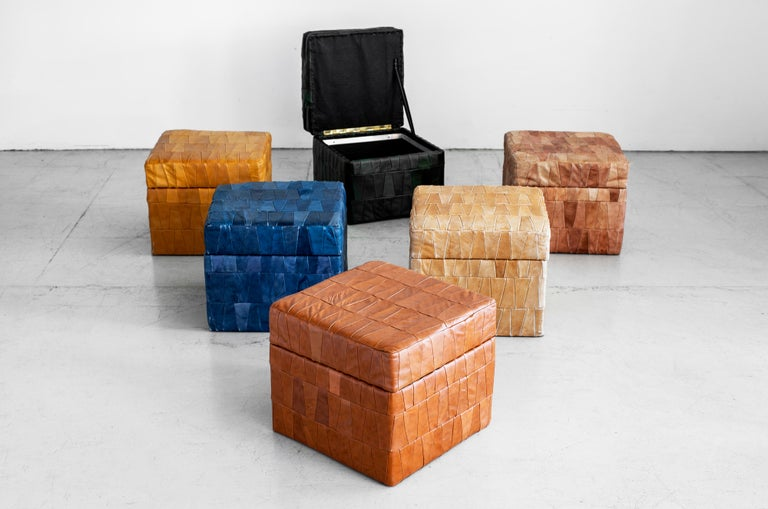 De Sede Leather Patchwork Ottomans In Good Condition For Sale In Los Angeles, CA