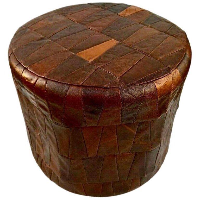 De Sede Leather Patchwork Ottomans For Sale 4