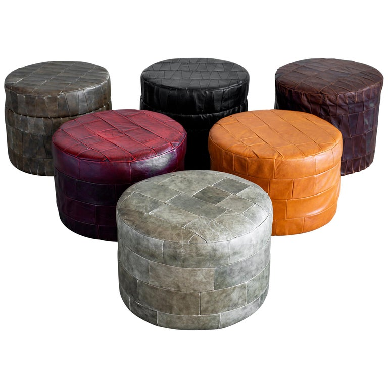 De Sede Leather Patchwork Ottomans For Sale