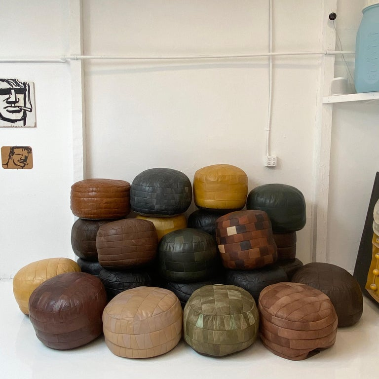 De Sede Leather Patchwork Poufs In Good Condition For Sale In Los Angeles, CA
