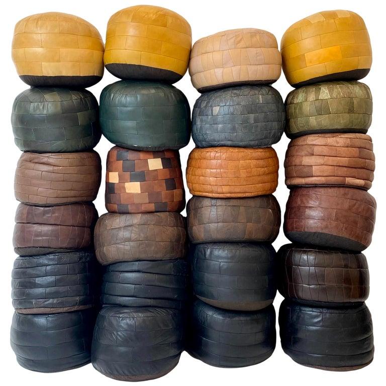 De Sede Leather Patchwork Poufs For Sale