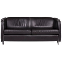 De Sede Leather Sofa Black Two-Seat Couch