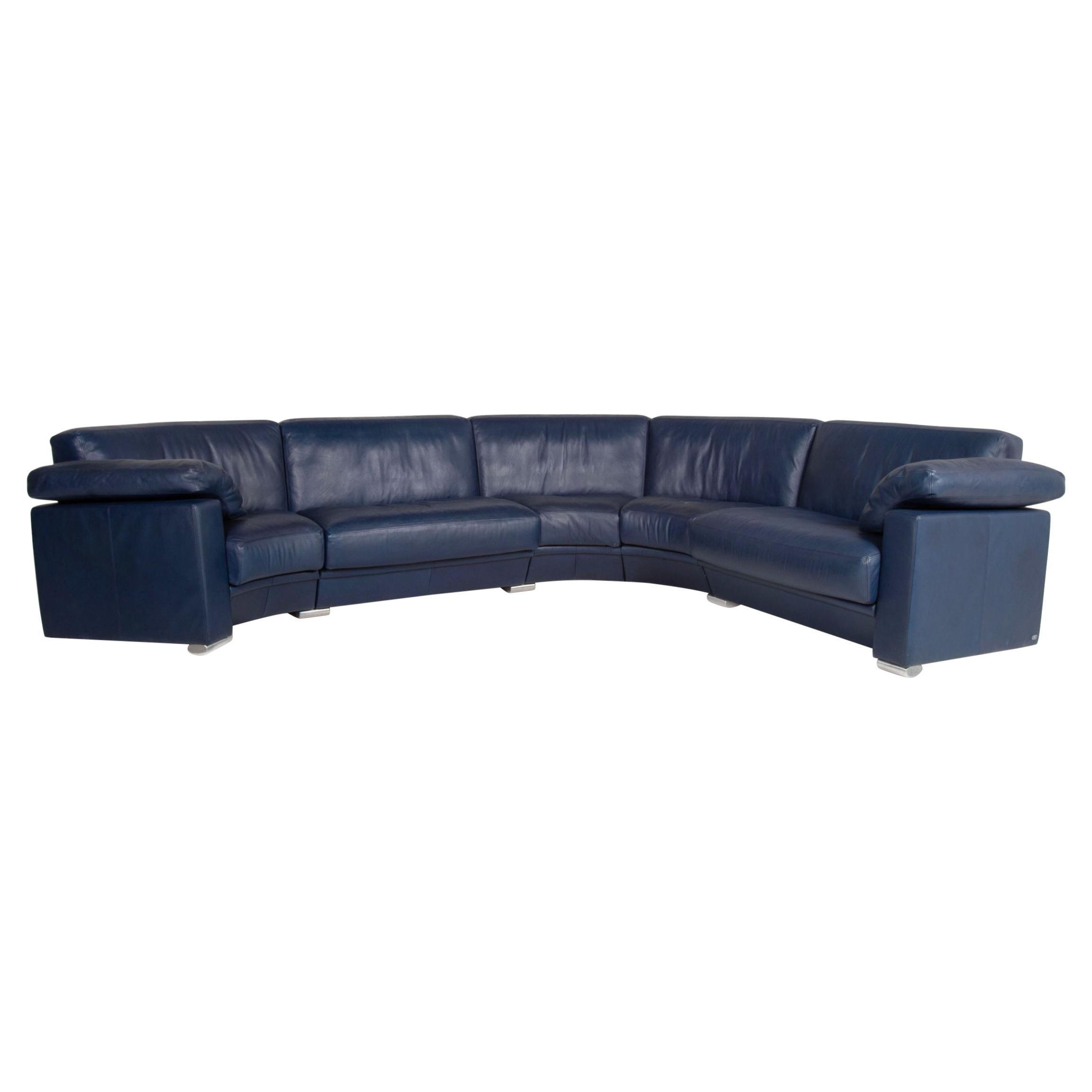 De Sede Leather Sofa Blue Corner Sofa Round Corner Couch