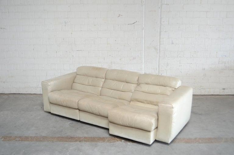 De Sede Leather Sofa DS 105 Ecru White For Sale 4