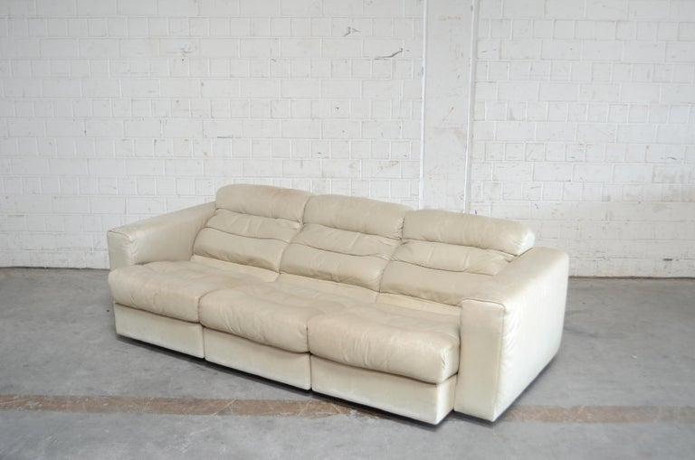 De Sede Leather Sofa DS 105 Ecru White For Sale 5