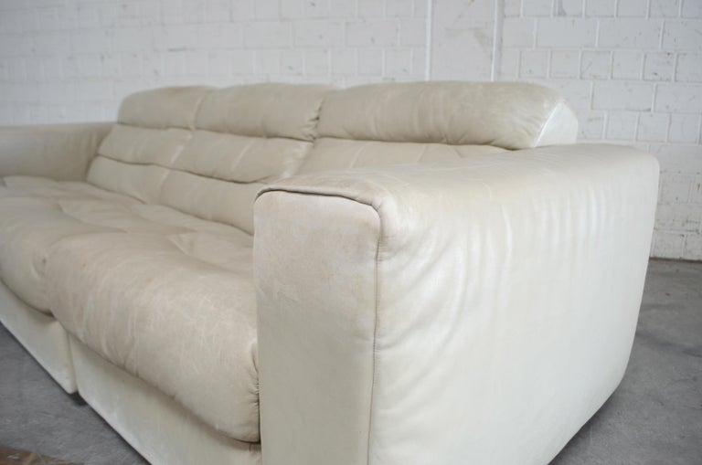 De Sede Leather Sofa DS 105 Ecru White For Sale 6