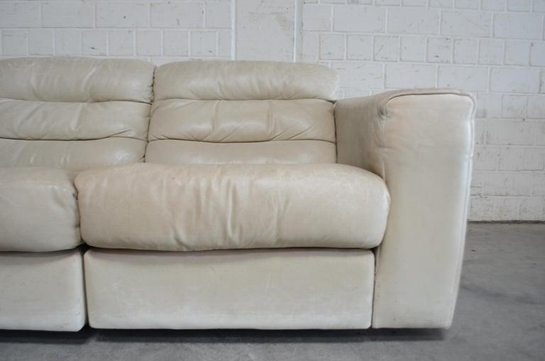 De Sede Leather Sofa DS 105 Ecru White For Sale 2