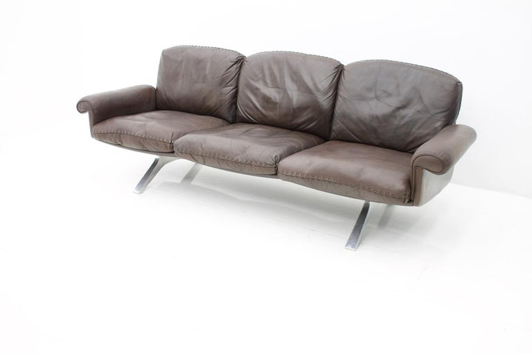 Steel De Sede Leather Sofa DS 31 with Chrome Base, Switzerland, 1970s