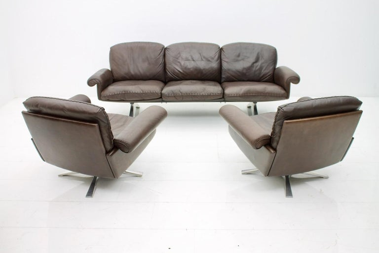 De Sede Leather Sofa DS 31 with Chrome Base, Switzerland, 1970s 2
