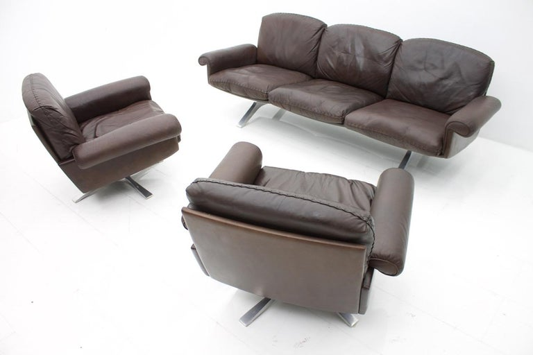 De Sede Leather Sofa DS 31 with Chrome Base, Switzerland, 1970s 3