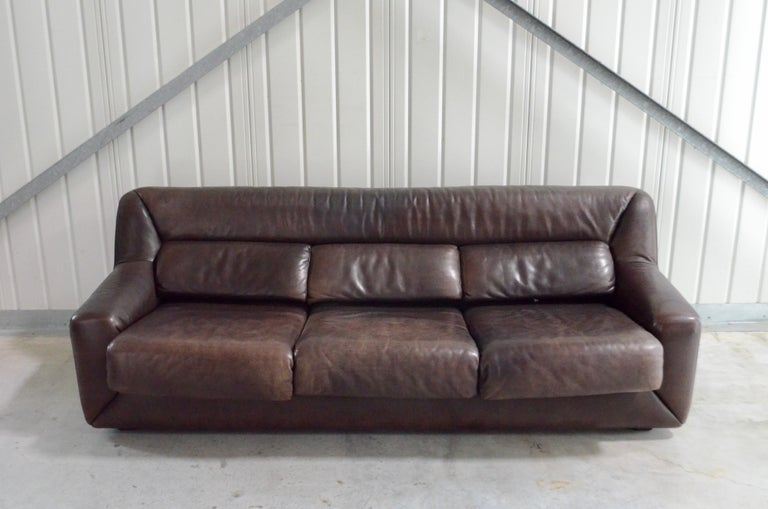 Mid-Century Modern De Sede Leather Sofa DS 43 Brown For Sale