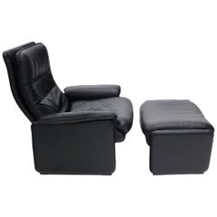De Sede Made in Switzerland Recliner Lounge Chair with Ottoman DS50