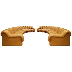 """De Sede Matched Pair of Iconic """"Non-Stop Sofas"""", 1970s"""