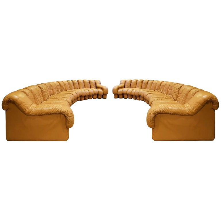 """De Sede Matched Pair of Iconic """"Non-Stop Sofas"""", 1970s For Sale"""