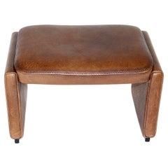De Sede Mid Century Modern Vintage Brown Leather Footstool 1970s Switzerland