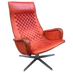 De Sede Model DS 51 Ox Blood Red Lounge Chair