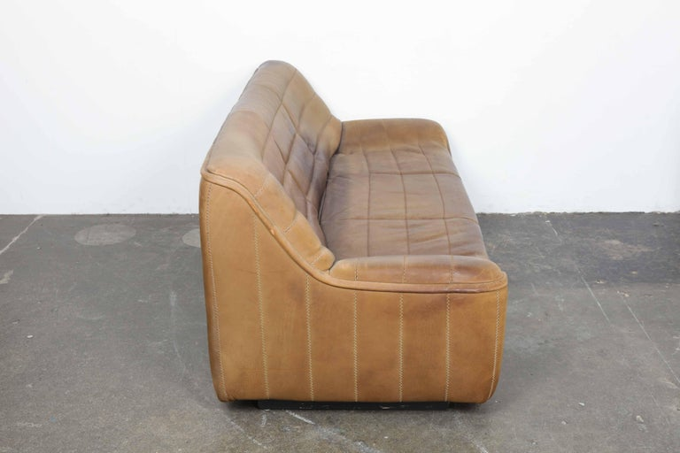 Mid-Century Modern De Sede Model DS 84 Brown Leather Sofa from Switzerland For Sale