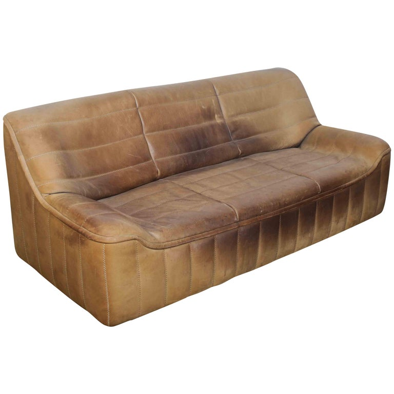 De Sede Model DS 84 Brown Leather Sofa from Switzerland For Sale