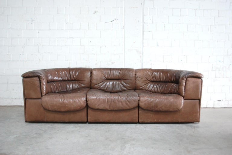 De Sede Modul Vintage Leather Sofa brown For Sale 4