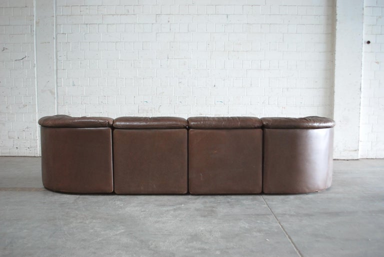 De Sede Modul Vintage Leather Sofa brown For Sale 11