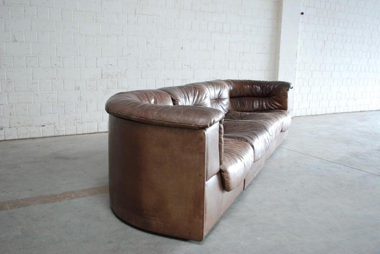 De Sede Modul Vintage Leather Sofa brown For Sale 13