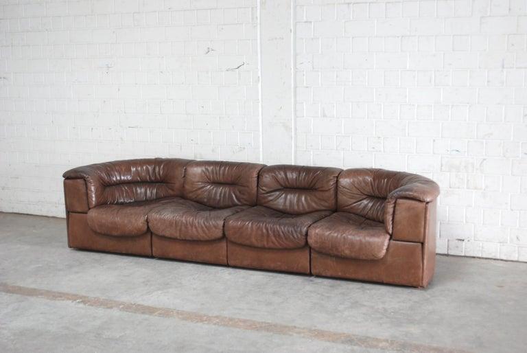 Mid-Century Modern De Sede Modul Vintage Leather Sofa brown For Sale