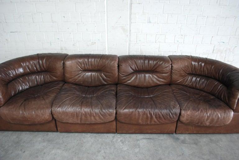 Swiss De Sede Modul Vintage Leather Sofa brown For Sale