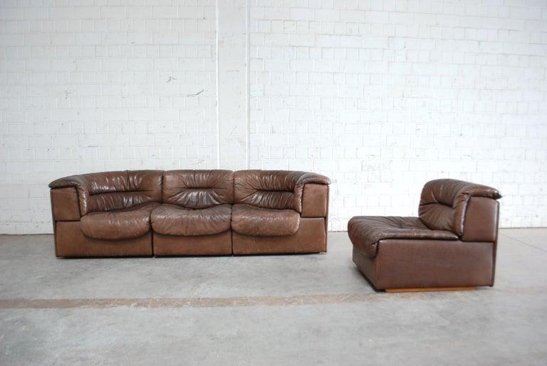 De Sede Modul Vintage Leather Sofa brown For Sale 3