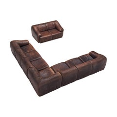 De Sede Modular Lounge Set in Dark Brown Buffalo Leather, circa 1970
