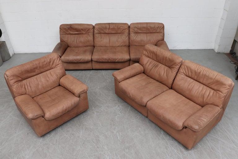 De Sede Natural Leather 3-Seat Sofa For Sale 5