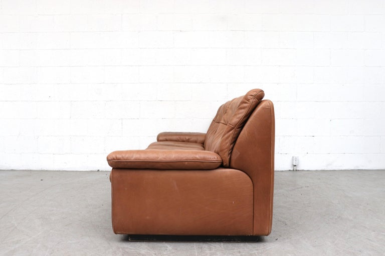 Mid-Century Modern De Sede Natural Leather 3-Seat Sofa For Sale