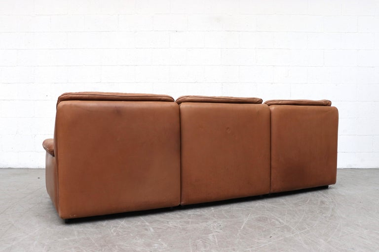 Swiss De Sede Natural Leather 3-Seat Sofa For Sale