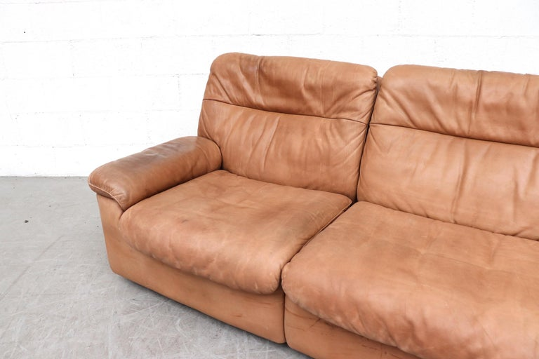 De Sede Natural Leather 3-Seat Sofa In Good Condition For Sale In Los Angeles, CA
