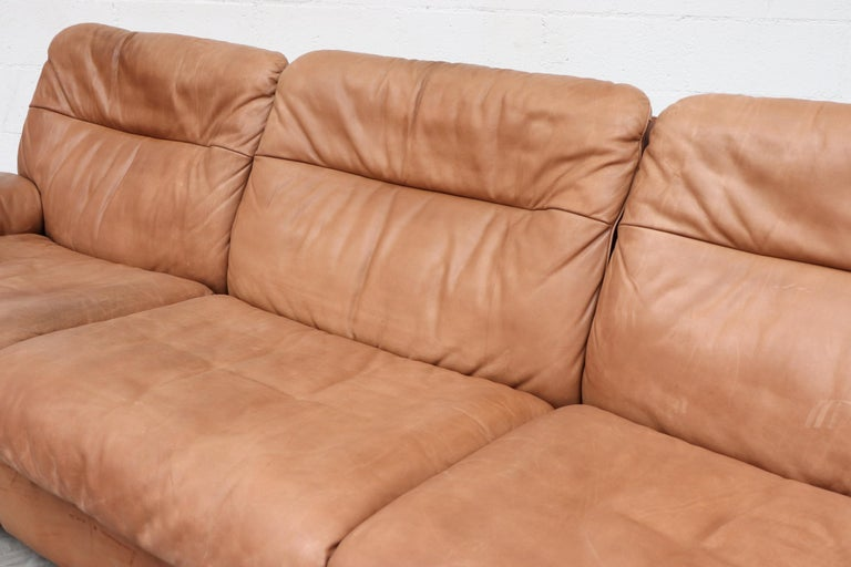 Late 20th Century De Sede Natural Leather 3-Seat Sofa For Sale