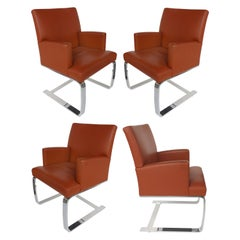 De Sede of Switzerland Cantilevered Leather and Stainless Steel Chairs, '4'