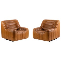 De Sede, Pair of DS-46 Armchairs in Brown Leather, 1970s