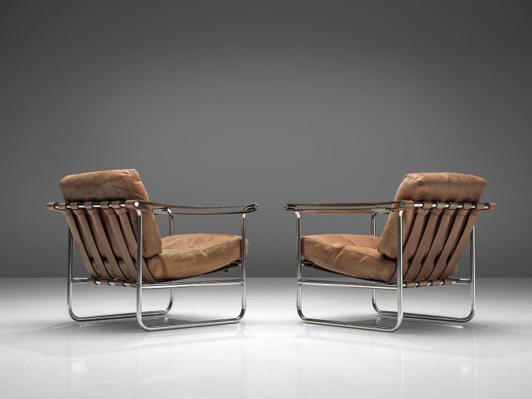 Post-Modern De Sede Pair of Leather Armchairs by Hans Eichenberger