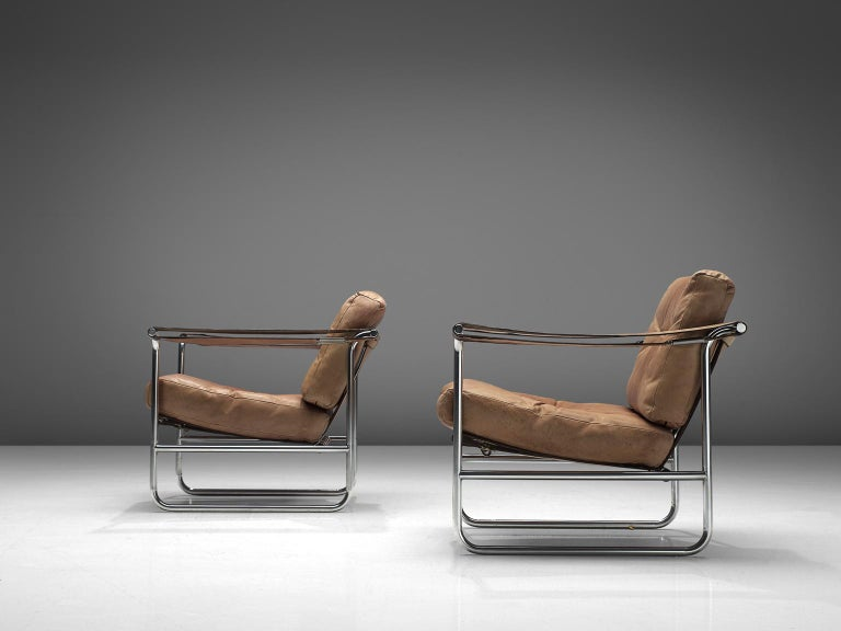 Swiss De Sede Pair of Leather Armchairs by Hans Eichenberger