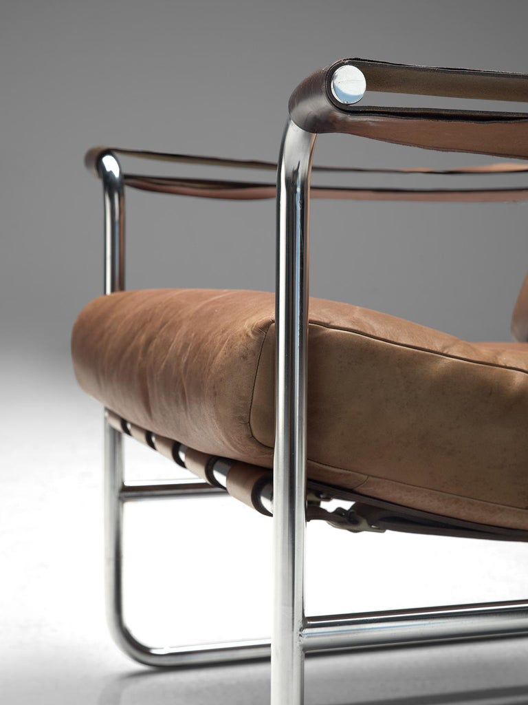 Steel De Sede Pair of Leather Armchairs by Hans Eichenberger
